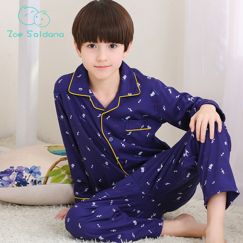 Boy's   Pajamas     Sets   New Autumn Cartoon Dogs Printed Home-Wear Teenager Boys Home 2Pcs Long Sleeve Soft Sleepwear