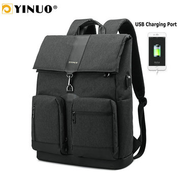 YINUO USB Charging Laptop Backpack 15.6inch Waterproof Back Anti Theft High Capacity Travel Bags For Men Business Mochila