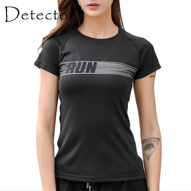 Detector Women's Dry Quick Breathable Gym Yoga T Shirts Women Sport Tee Fitness Running Short Sleeve Tops Workout Training Cloth