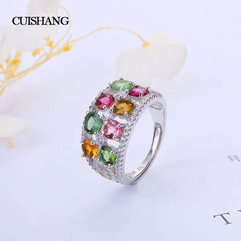 CSJ 925 Sterling Silver Fine Jewelry Rings Natural Gemstone Multicolor Tourmaline fine wedding Engagment for women