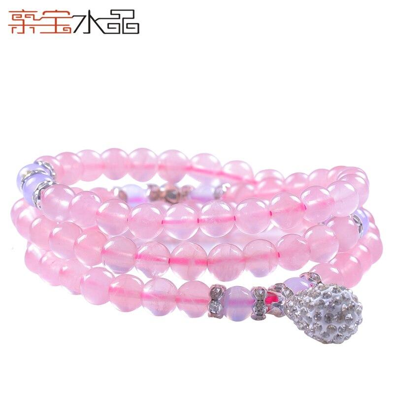 Cristal naturel cheval rose cristal bracelet multi-cercle collier femelle chandail valentine cadeau du jour