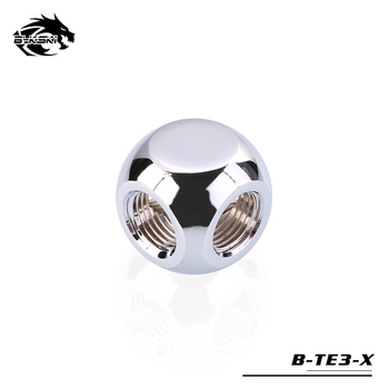 """BYKSKI G1/4"""" X3 Black Silver Gold 3-Way Cubic Adaptors Water Cooling Accessories Fittings Multi-channel"""