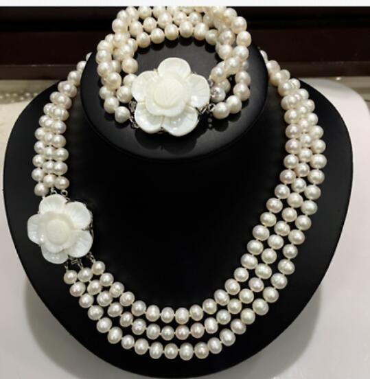 Triple strands 7-8mm Natural White Pearl Necklace Bracelet Triple strands 7-8mm Natural White Pearl Necklace Bracelet