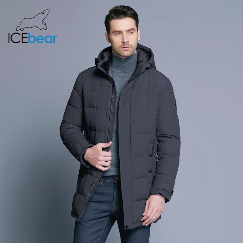 Icebear 2018 Delicate Material Winter Males's Jacket Thickening Informal Cotton Jackets Winter Mid-Lengthy Parka Males Model Clothes 17Md962D