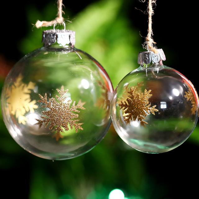 Manufacture Supplier Xmas Glass Ornament Ball/ Gold Bushy Snowflake/ Clear Glass Ball Tree Pendant Indoor Outdoor DIY Event Part