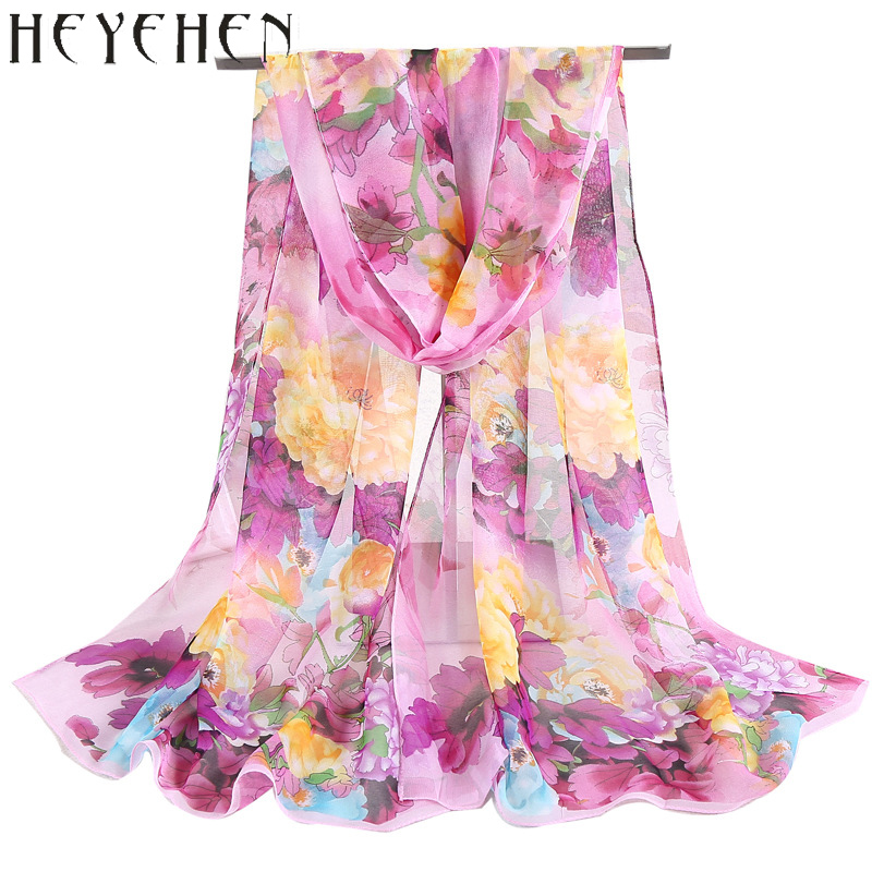 2017 New Design Chiffon Gorgette Silk Bandana Scarf Peony Flower Beautiful Shawl For Hijab Summber Beach Sarong HY32