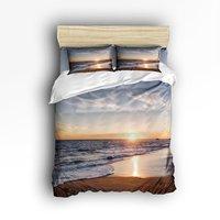 Twin Размеры Постельное белье песчаный пляж Закат океанских волн Книги по искусству Набор пододеяльников для пуховых одеял комплект Постель