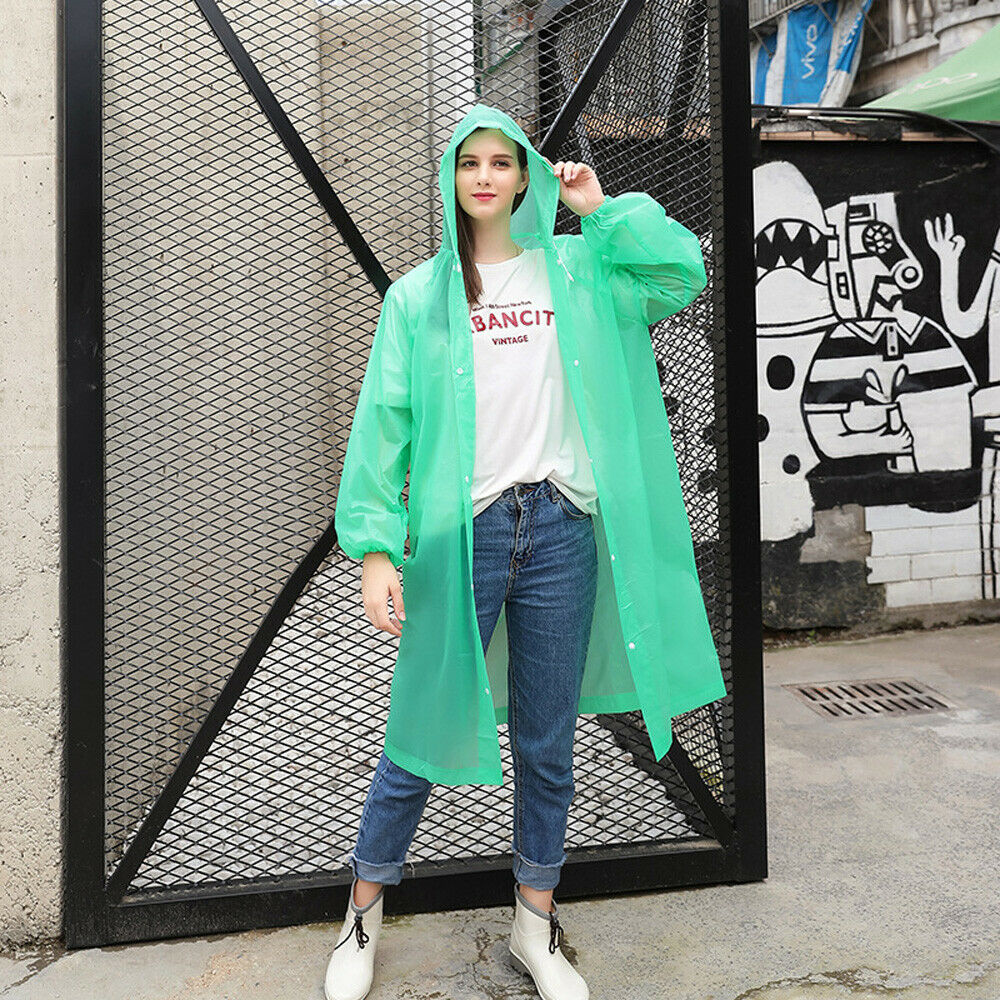 Adult Raincoat Transparent Waterproof Plastic Reusable Rain Poncho Hood Lady Men