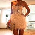 Stunning Stunning Short Cocktail Party Dresses 2017 Rhinestone Crystal Feathers Girls Party Dresses robe de cocktail