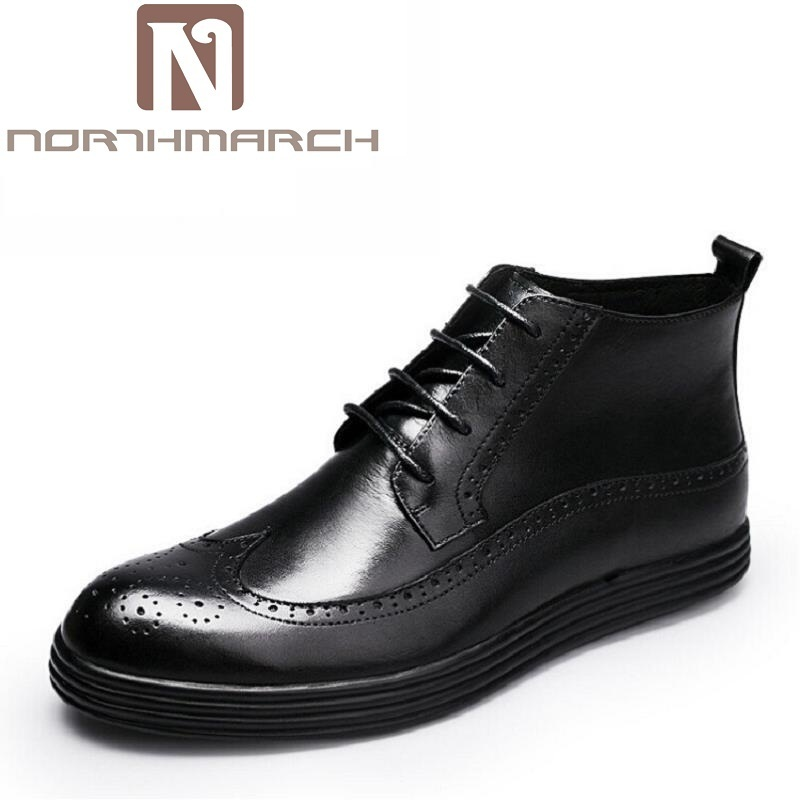 NORTHMARCH Winter Boots Handmade Comfortable Bullock Men Boots Lace-Up Black Men Casual Autumn Male Shoes Leather Botas Hombre 2016 new autumn winter man casual shoes sport male leisure chaussure laced up basket shoes for adults black