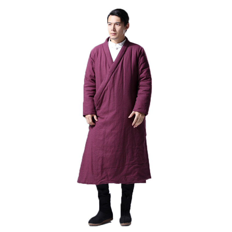 Hisenky Men's Winter Trenchcoat Chinese Style Long Windbreaker Hanfu Robes Thick Warm Coat Vintage Cotton-Padded Jackets 4colors
