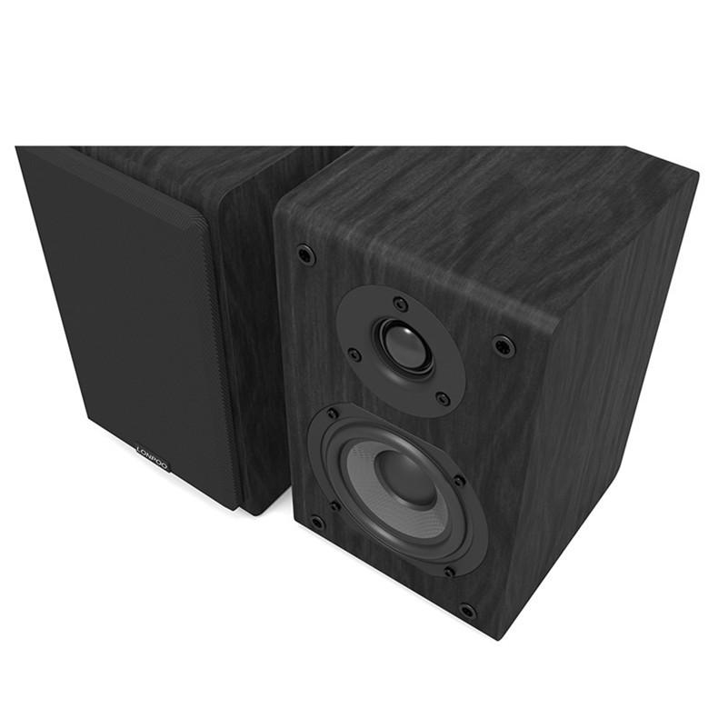 LONPOO Bookshelf Speaker Passive Pair 2-Way 75W *2 Classic Wooden Loudspeaker with 4-inch Carbon Fiber Woofer Tweeter Speaker 13