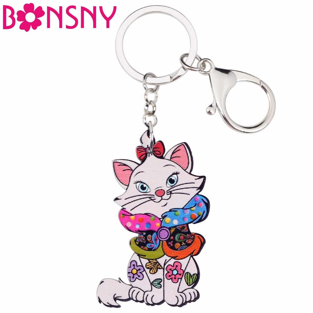 Bonsny Acrylic Pets Jewelry Sit Cat Key Chains Keyrings For Women Girl Bag Driving Car Key Handbag Wallet Charms Keychain Gift