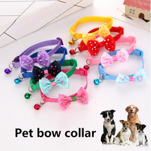 1 Pcs Pet Bow Collar with Bell Dog Puppy Cat Bowknot Neck Strap Dressing Favors DC112