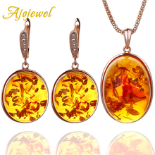 Ajojewel Round Resin Stone Women Jewelry Set Beautiful Orange Necklace And Earrings Match With Gift Box