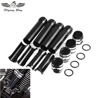 Black Motorcycle Pushrod Tube Covers Lower For Harley Dyna Softail Touring Twin Cam 1999 2017