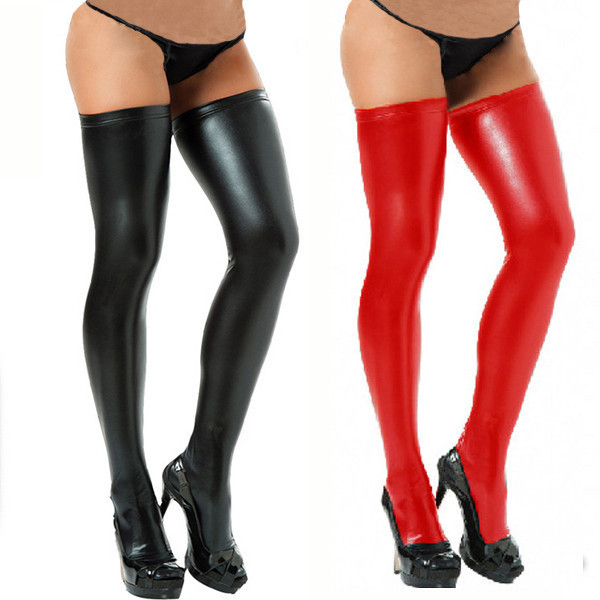 Women Sexy Red and Black Metallic Vinyl Faux LeatherThigh High Stockings Hosiery