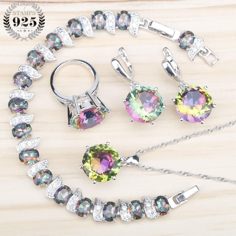 Costume Magic Rainbow Zircon Silver 925 Bridal Jewelry Sets  Charms Bracelets Necklace&Pendant Rings Earrings Stones Gift Box bracelet necklace bridal jewelry sets ring earring -