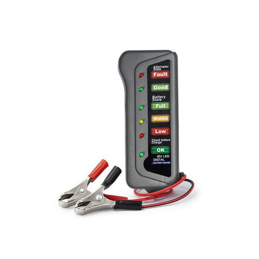 12v Car Battery Tester Meter Alternator Battery Tester With 6 Led Lights Display Battery Diagnostic Tool Car
