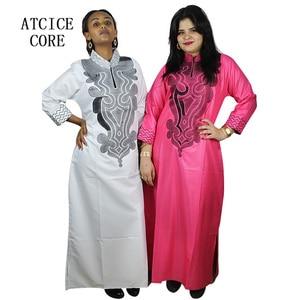 Image 1 - 스카프와 아프리카 부드러운 소재 디자인 드레스 자수 디자인 긴 드레스