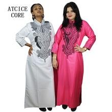 Afryki miękki materiał projekt sukienka haft projekt długa sukienka z szalikiem
