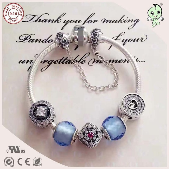 Good Quality Hot Sale Famous Brand Design Silver Jewelry BLue Color Series 925 Sterling Silver Charm Bracelet