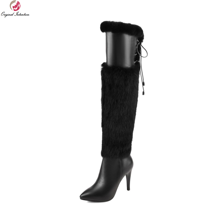 Original Intention Elegant Women Over the Knee Boots Fur Cow Leather Pointed Toe Thin Heels Boots
