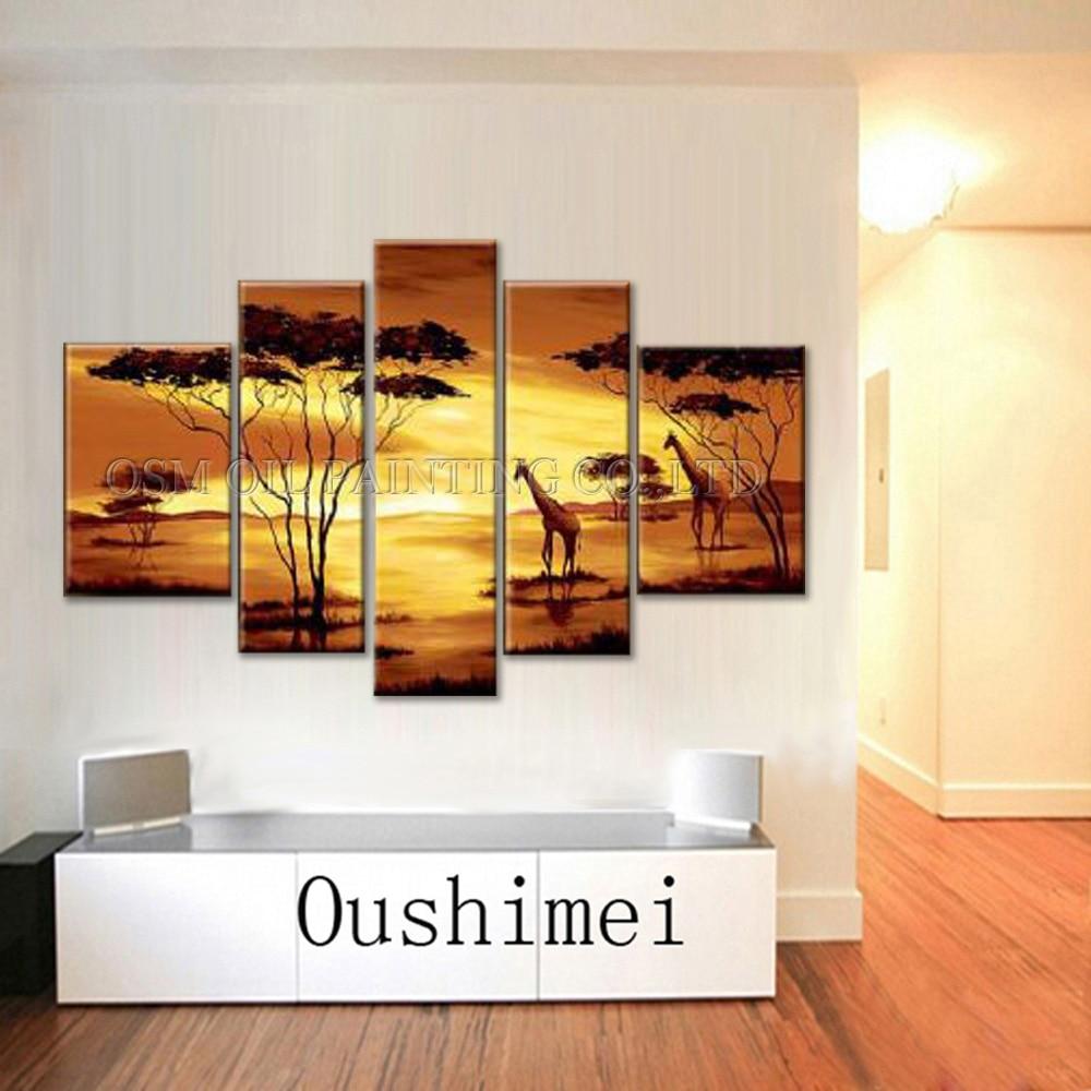 Top artiste fait à la main de haute qualité Art mural moderne peinture à l'huile sur toile belle or paysage africain peinture à l'huile - 2