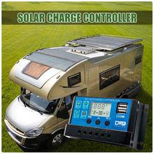 20A Dual USB Панели солнечные Батарея регулятор заряда аккумулятора 12/24V ЖК-дисплей Прямая поставка ls'd инструмент