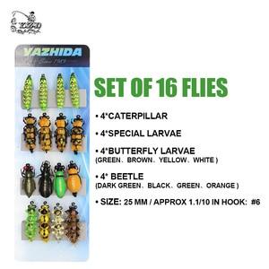 Image 2 - Realistische Fly Fishing Flies Set 16 Pcs Vlinder Larven Kever Droge Vliegen Insect Lokken Voor Piketrout Lokken Kit Vliegvissen
