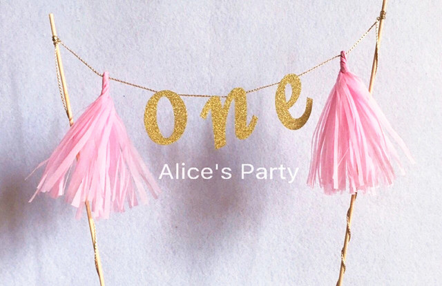 New Arrival Handmade Giltter Gold One Cake Topper Bunting Pink Tassels Kids 1st Birthday Baby