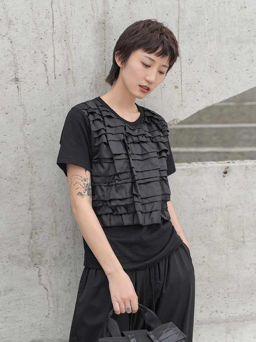 Cakucool 2019 新夏ダーク日本幾何ひだステッチファッション人格半袖 Tシャツ女性