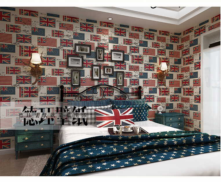 Vintage British Union Jack British Flag Plaid Wallpaper