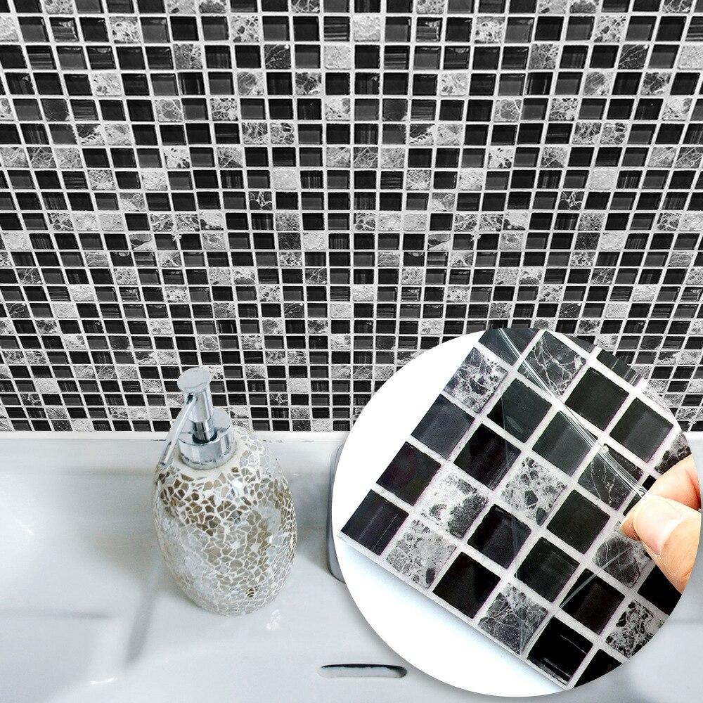 10pc Black Mosac Tiles Wall Sticker For Bathroom Tile Stickers Home Decor Waterproof Art Kitchen Waist Line Decals