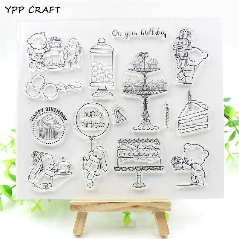 YPP CRAFT Happy Birthday Transparent Clear Silicone Stamps for DIY Scrapbooking/Card Making/Kids Crafts Fun Decoration Supplies ypp craft post card transparent clear