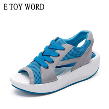E TOY WORD 2019 Fashion summer womens sandals Casual Mesh Breathable Shoes Women wedges Sandals Lace up Platform Sandalias цены онлайн