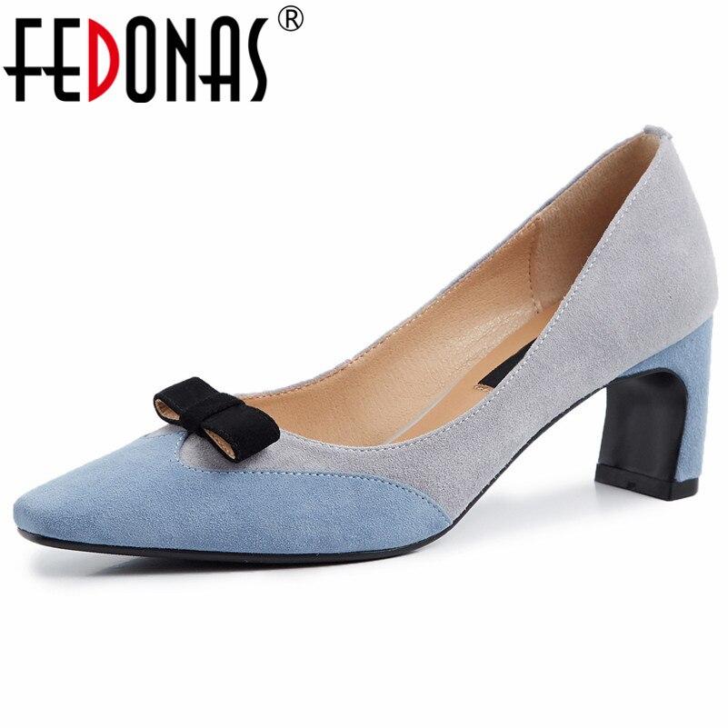 Fedonas 새로운 2019 여성 기본 펌프 하이힐 나비 파티 웨딩 신발 지적 발가락 댄스 파티 펌프 슬립 스웨이드 가죽 신발-에서여성용 펌프부터 신발 의  그룹 1