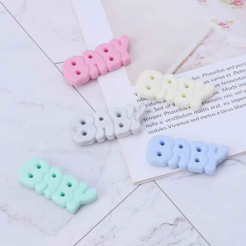 Silicone Beads Baby Teether DIY Jewelry Necklace Pendant Teething Supplies Grind Bead Letters Newborn Oral Care Kids Products