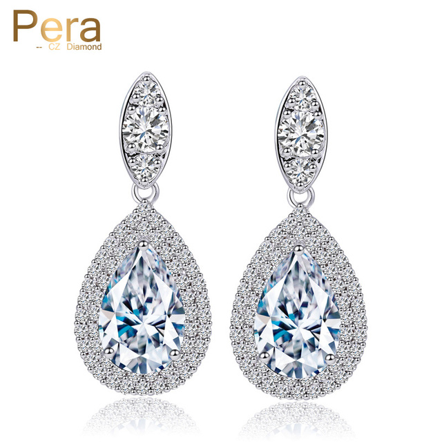 Pera Dubai Women Wedding Costume Jewelry White Gold Color Cubic Zirconia Crystal Tear Drop Clic