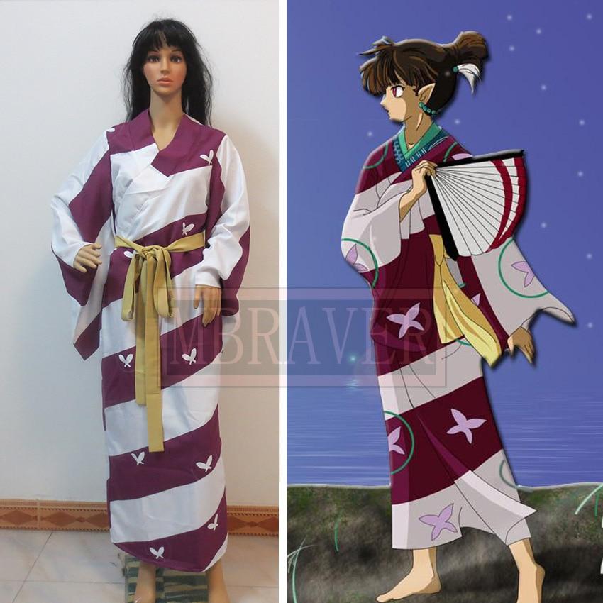 Free Shipping Anime InuYasha Kagura Kimono Cosplay Costume
