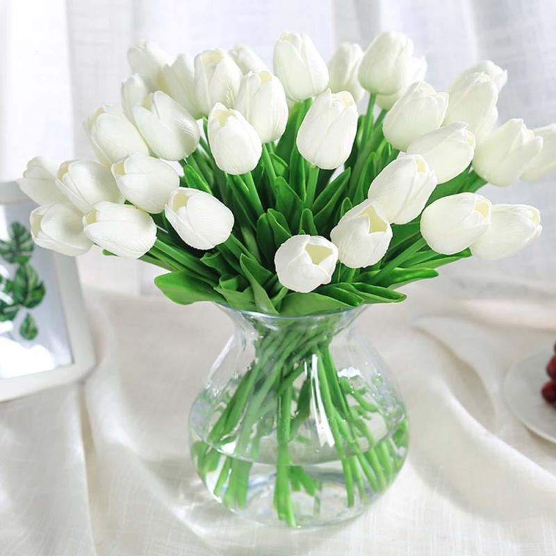 10pcs Set Lalele Flori False Artificiale Buchet Alb Flori