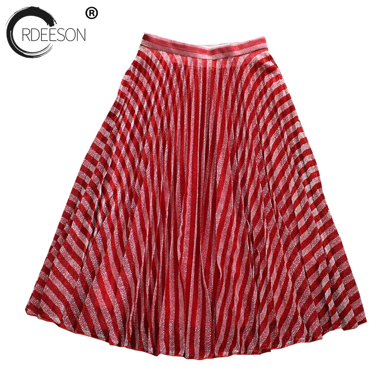 1e33727f73 Moda Alambres Rojo Roja Falda Una Ordeeson Larga Delgada Corea Plisada Raya  Cintura Línea Alta Rayón ...