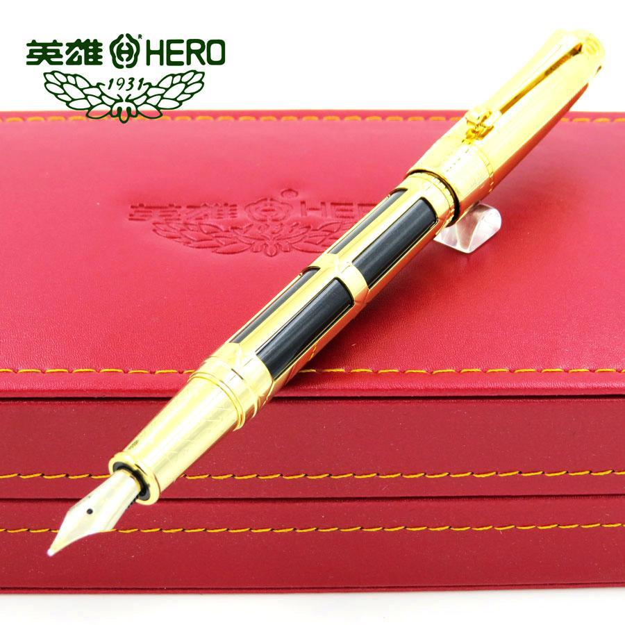 Hero 2065 0.5mm fountain pen 10K gold nib classic Business gift pen with a gift box office & school stationery authentic hero 9316 fountain pen ink pen iraurita nib 0 5mm calligraphy pen student stationery office business gift box set