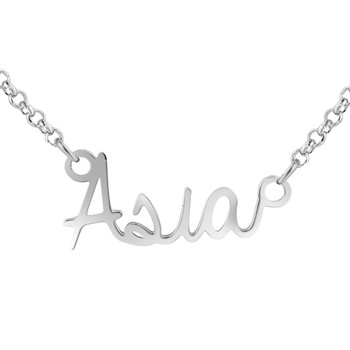Personalized Titanium steel Name Necklace Pendant in Silver Custom Made with Any Name Fashion Jewelry Gift for women #EW50 image