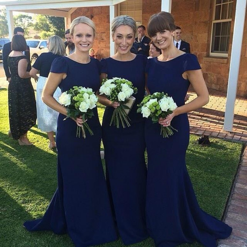 Navy Blue   Bridesmaid     Dresses   2018 Mermaid Cap Sleeve Long Party Gowns Long Train Vestidos De Madrinha Prom   Dress   Custom Made