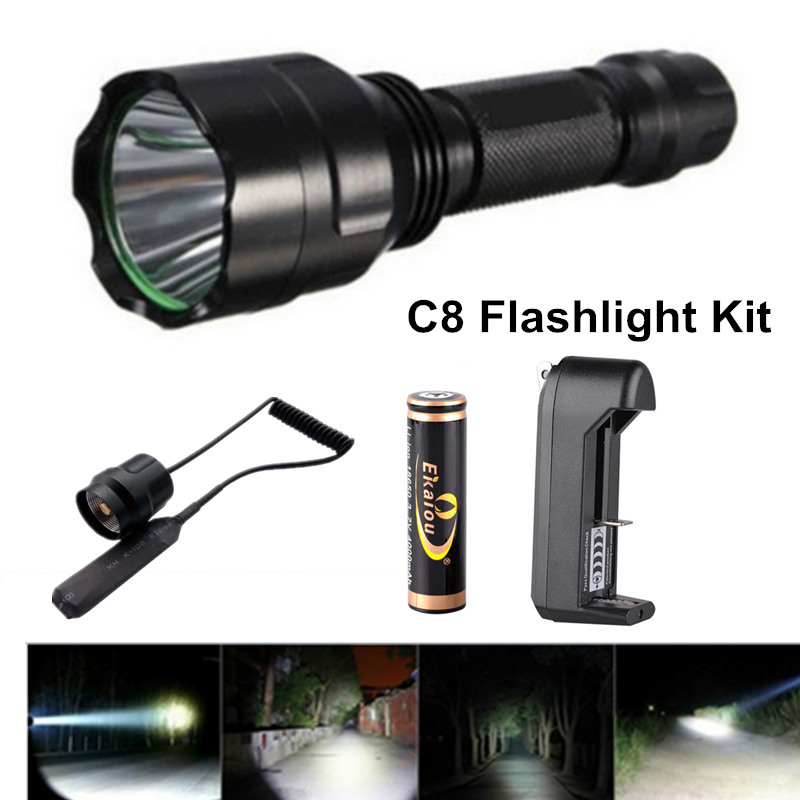 2000lumens XML-T6 Led Torch Rechargeable Flashlight Kit Most Powerful lanterna+Remote Pressure Switch+18650 Battery+Charger