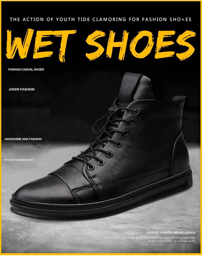 preto sapatos de inverno homens botas quentes com pele