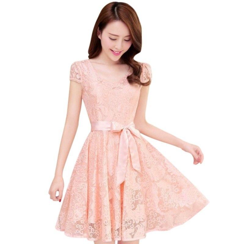 Moda de verano de manga corta floral lace dress v-cuello sólido chica elbise