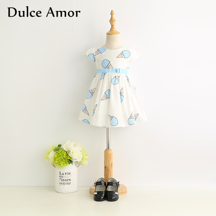 HTB1cLafSXXXXXbRaXXXq6xXFXXX0 - Dulce Amor Summer Cute Girls Dress Kids Baby Girls Clothes Short Sleeve Ice Cream Print Princess Dress Kids Dress For Girl