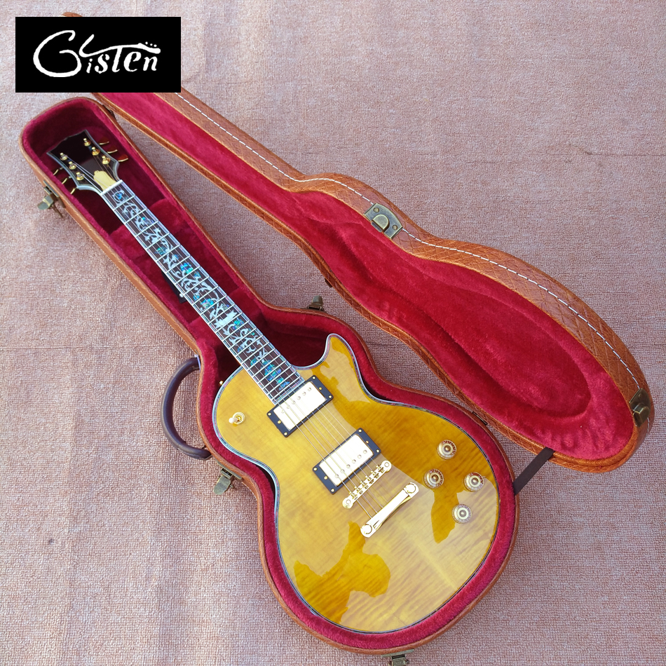 New style, high quality custom LP standard electric guitar hard case, brown leather hard case with red lining, free shipping new style high quality custom lp 1960 corvette electric guitar any color can be customized tonepro bridge free shipping